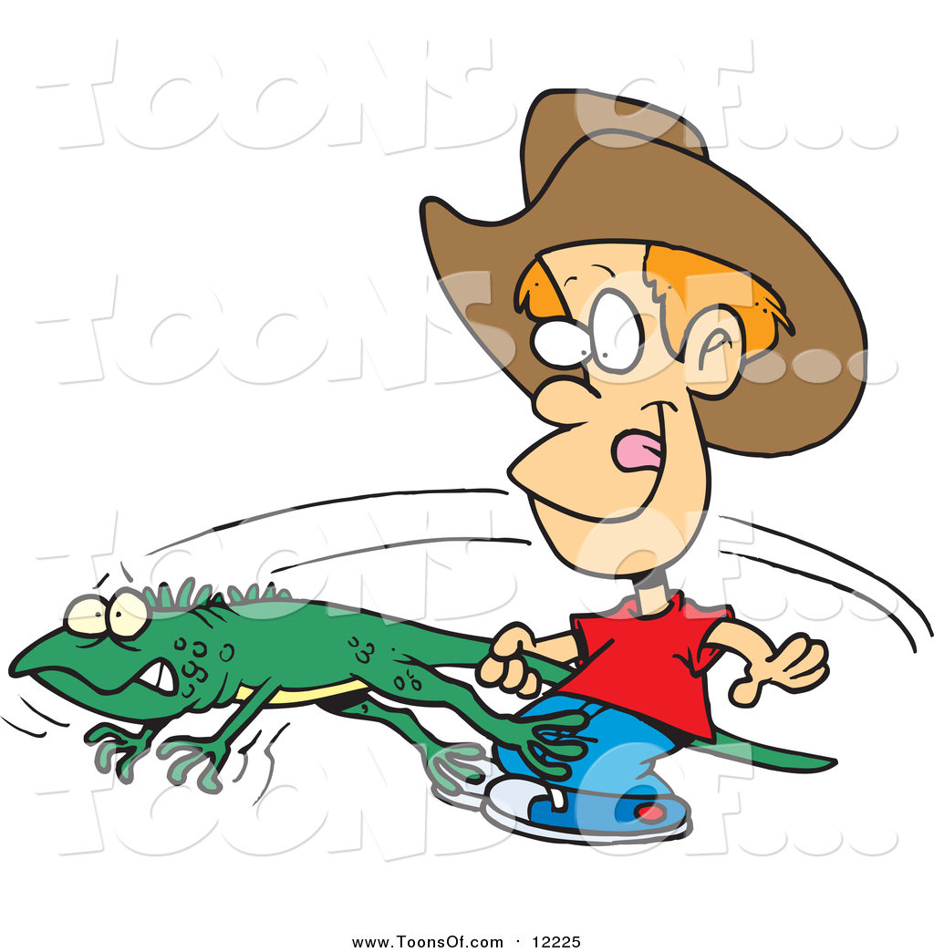 1024x1044 Clipart Of A Cartoon Red Haired White Boy Catching An Iguana By