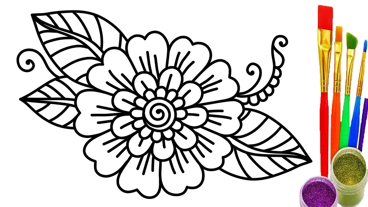 1280x720 How To Draw Flower Coloring Pages For Kids Learn Colors