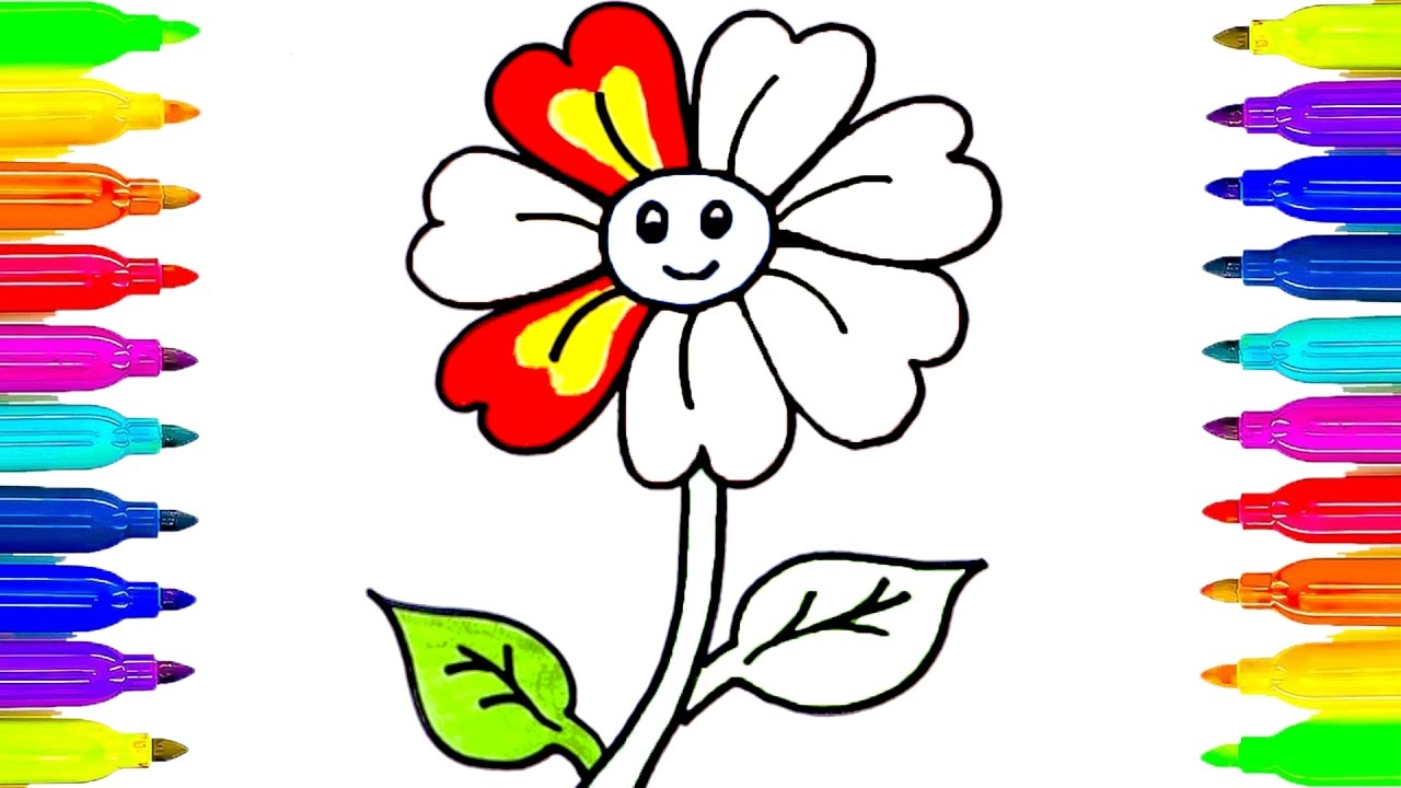 1280x720 How To Draw Flower For Kids Colouring Pages Learning Colors