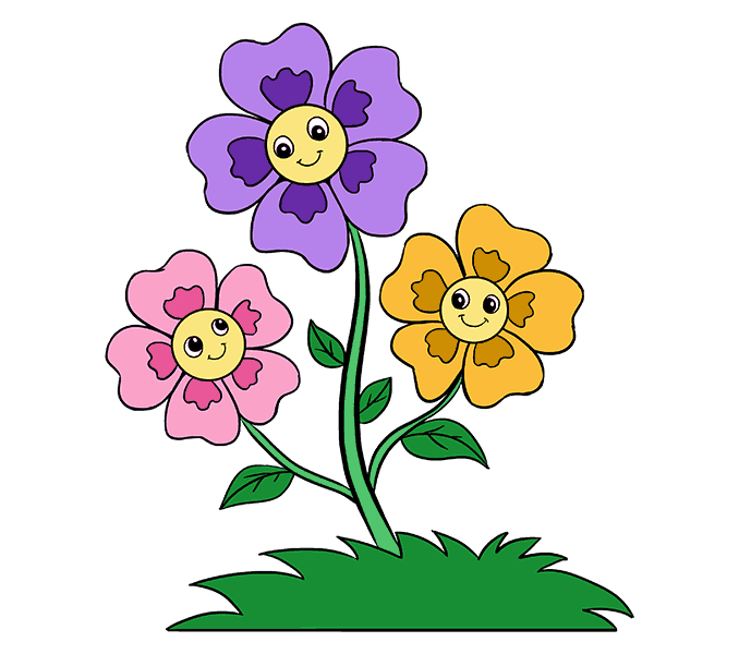 678x600 Images Cartoon Flowers Colouring To Humorous How Draw Easy Step By