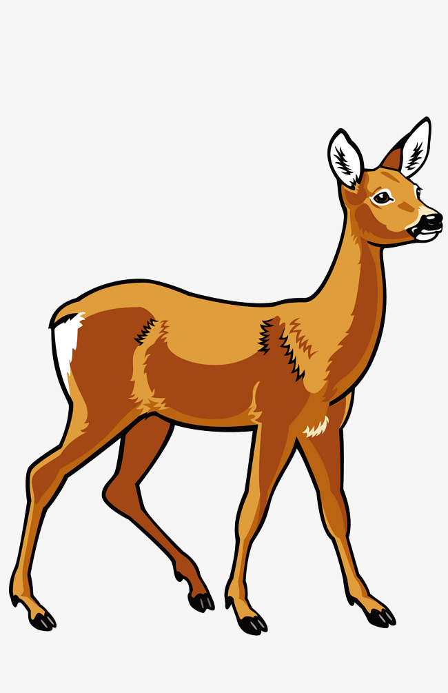 650x1005 Hand Painted Deer, Hand Painted, Cartoon, Wild Animals Png Image