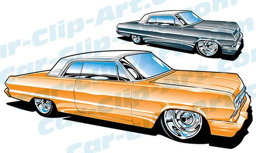 500x300 1963 Impala Vector Clip Art Clip Art, Car Drawings And Steel Wheels