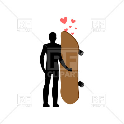 400x400 Skateboard And Guy In Love Royalty Free Vector Clip Art Image