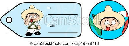 450x161 Mexican Kid Cartoon Independence Gift Card Sticker5. Mexican