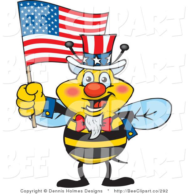 600x620 Cartoon Vector Clip Art Of A Patriotic Yellow Uncle Sam Bee Waving