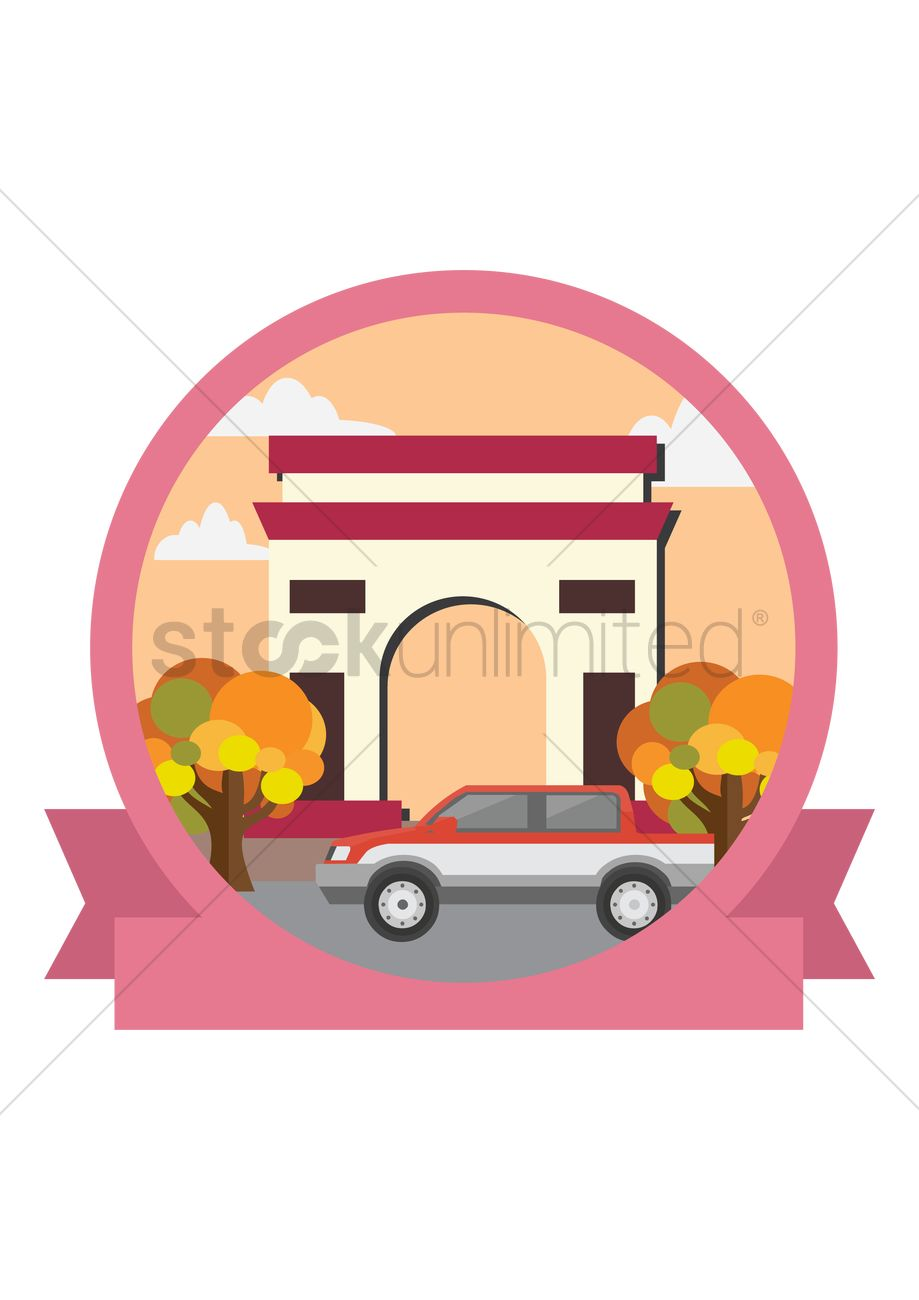 919x1300 India Gate Vector Image