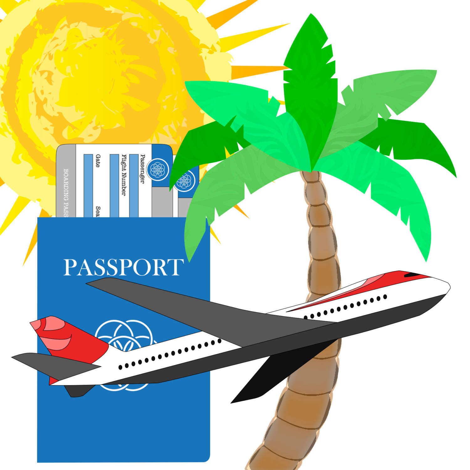 1500x1500 Travel, Vacation, Suitcase, Passport, Airplane, Palm Tree, Clipart