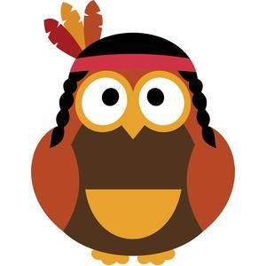 300x300 Owl Indian Girl Thanksgiving Silhouette Design, Thanksgiving