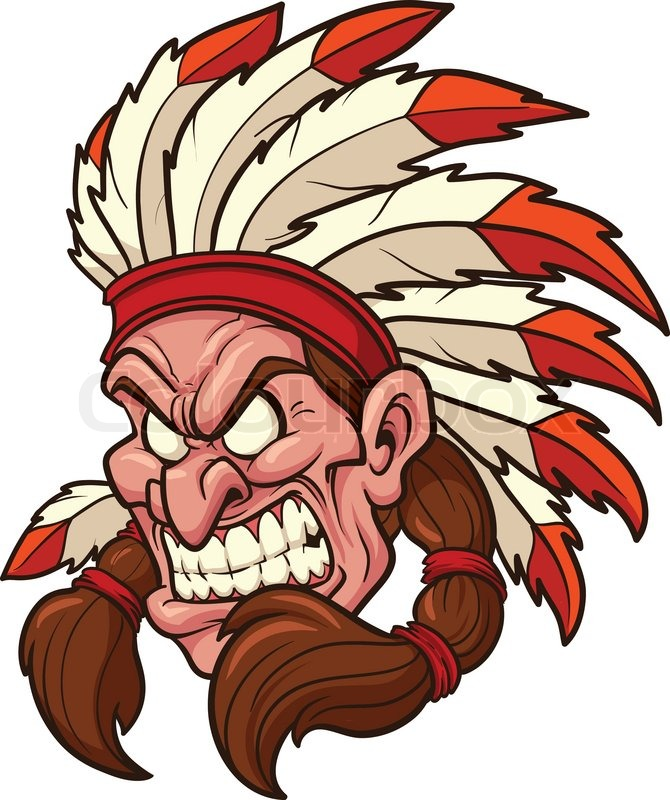 670x800 Indian Chief Mascot. Vector Clip Art Illustration. All In A Single