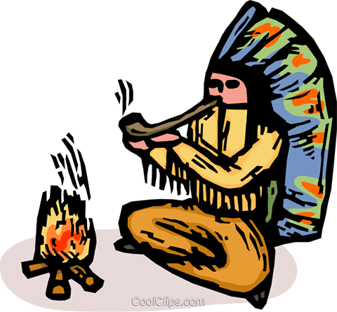 480x445 Indian Chief Smoking A Pipe Royalty Free Vector Clip Art