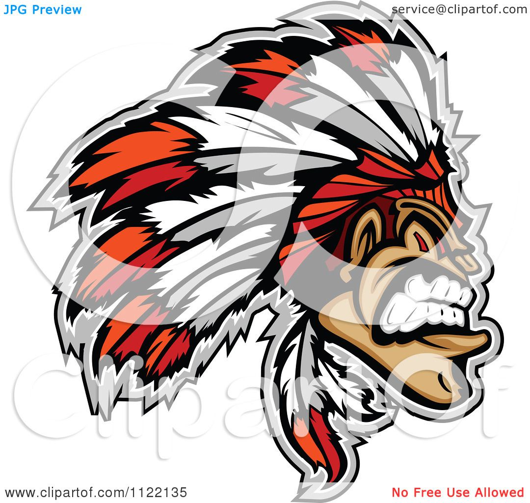1080x1024 Clipart Of An Aggressive Native American Indian Chief
