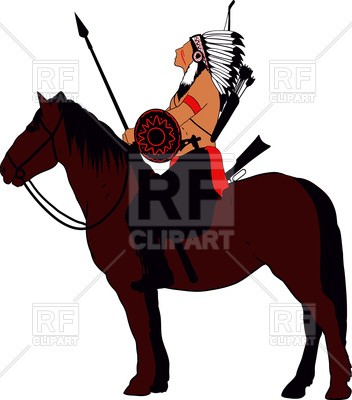 352x400 Brave Indian Warrior On Horse Royalty Free Vector Clip Art Image