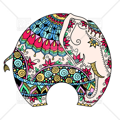 400x400 Decorated Indian Elephant Royalty Free Vector Clip Art Image