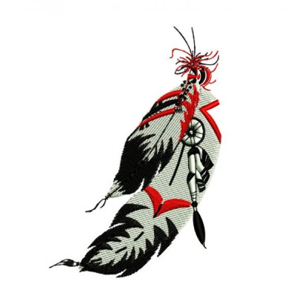 600x600 Native American Indian Feathers Western Embroidery Design