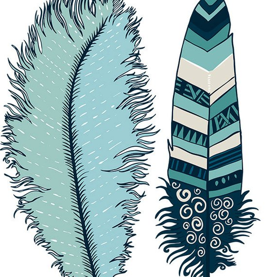 570x570 Navy Blue Feather Clip Art, Indian Summer Digital Illustration