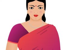 220x165 Female Indian Clipart Vector Illustration Of Smiling Indian Girl