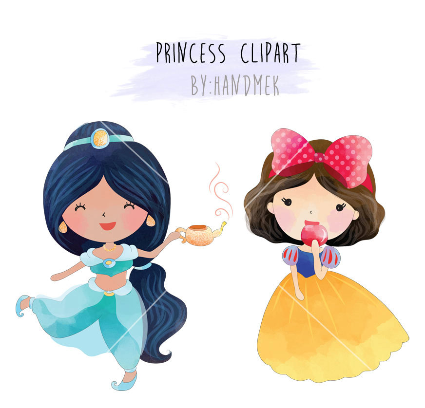 872x838 Cute Princess Clipart Set 1 Instant Download Png File