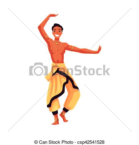 450x470 Indian Male Dancer In Traditional Harem Pants, Bollywood Vector