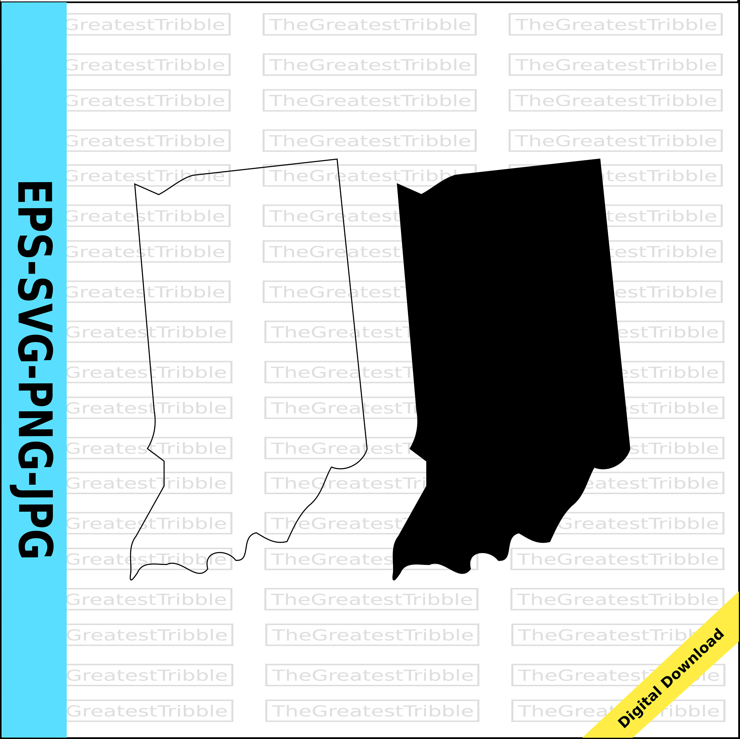 3000x2997 Indiana State Map Svg Png Jpg Eps Vector Graphic Clip Art Indiana