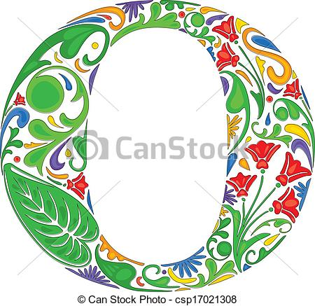 450x437 Floral O. Colorful Floral Initial Capital Letter O Vector Clipart