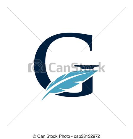 450x470 Initial With Feather. Initial Logo With Feather Vectors