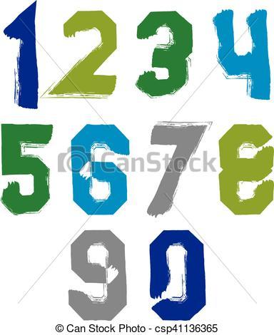 384x470 Freak Colorful Graffiti Digits, Set Of Vector Unusual Clip Art