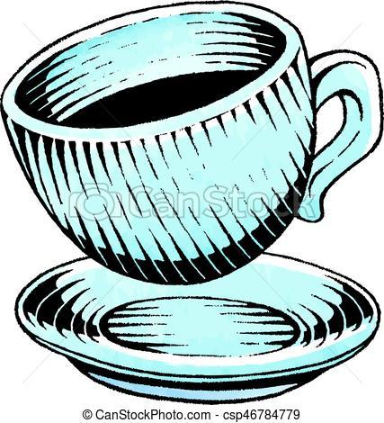 427x470 Ink And Watercolor Sketch Of A Coffee Cup. Vector Vectors