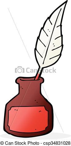 230x470 Cartoon Ink Bottle Vector Illustration
