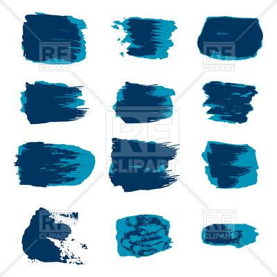 400x400 Set Of Blue Brush Stroke Royalty Free Vector Clip Art Image