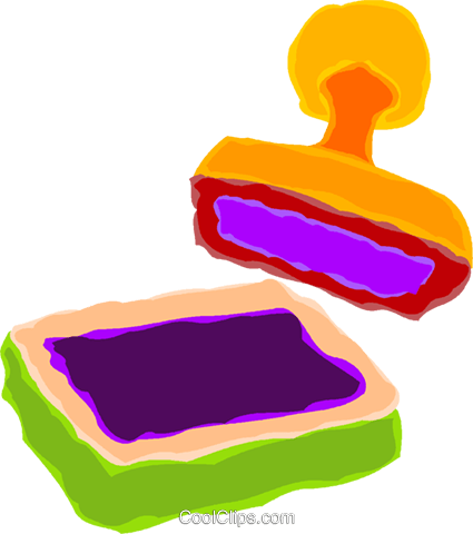 425x480 Ink Pad And Stamp Royalty Free Vector Clip Art Illustration