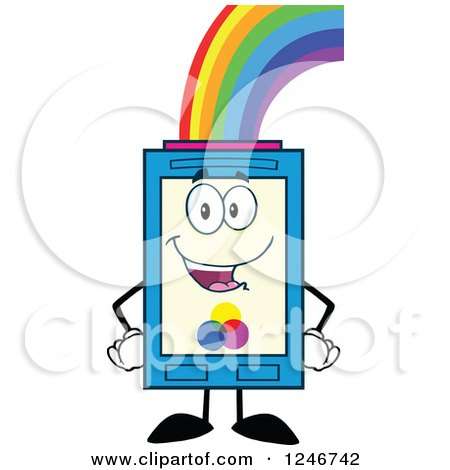 450x470 Clipart Of A Rainbow Refilling A Color Ink Cartridge Character