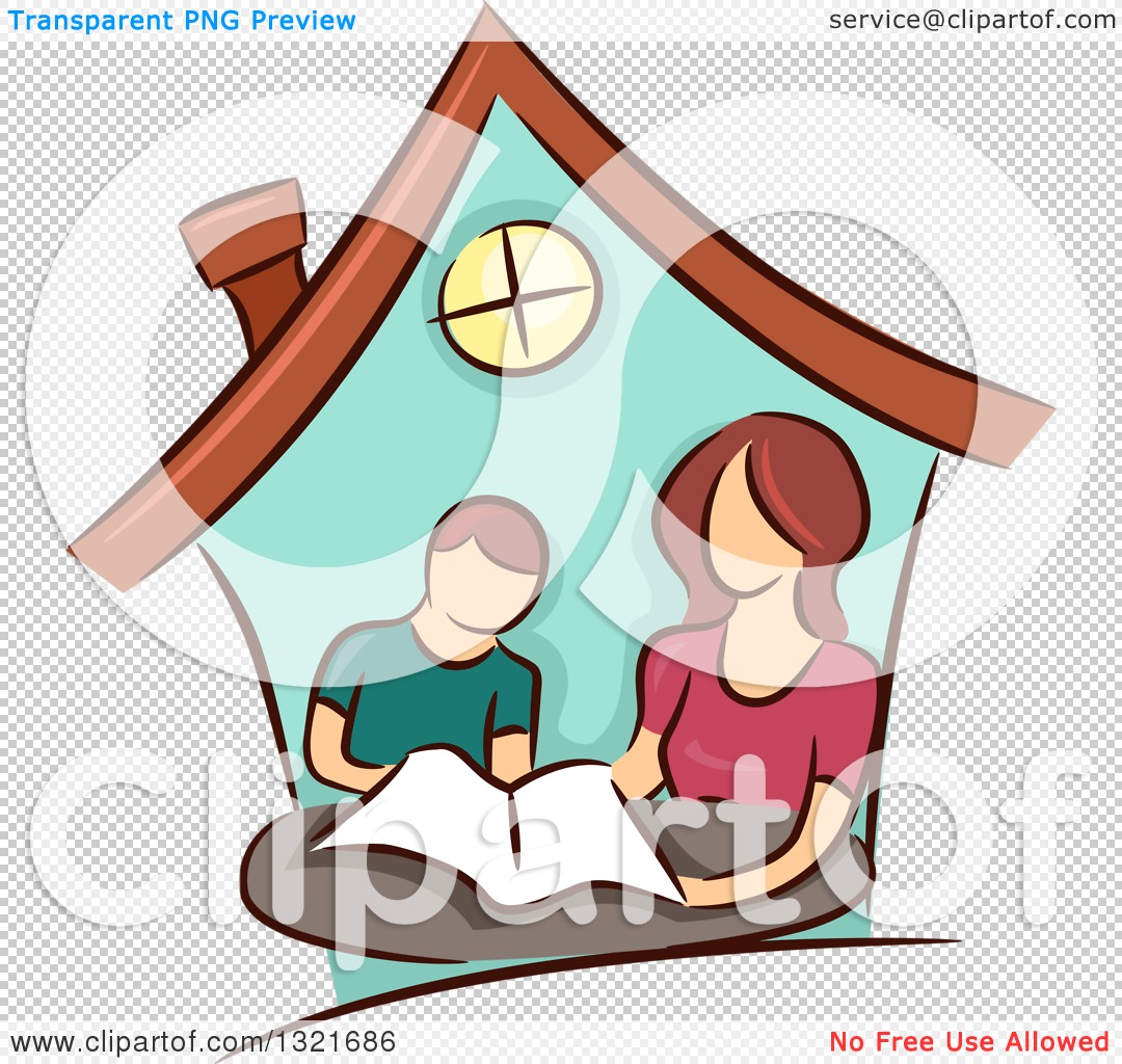 1080x1024 Clipart Of Brunette White Mother Home Schooling Her Son Inside