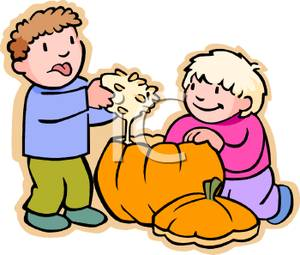 300x255 Cartoon Of Children Cleaning Out The Inside Of Pumpkin