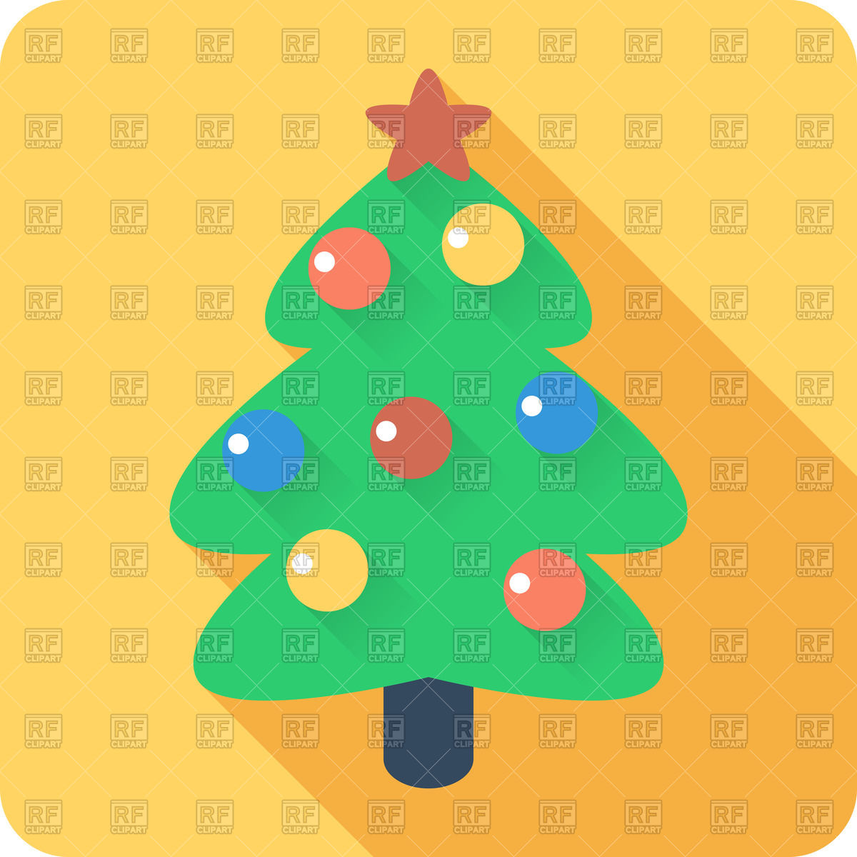 1200x1200 Cartoon Style Christmas Tree With Balls