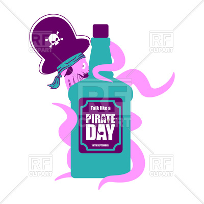 400x400 International Talk Like A Pirate Day. Octopus And Bottle Of Rum