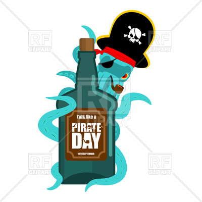 400x400 International Talk Like A Pirate Day. Octopus Pirate And Bottle