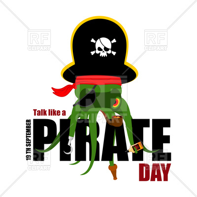 400x400 International Talk Like A Pirate Day. Octopus Pirate And Text