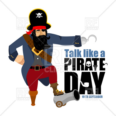 400x400 International Talk Like A Pirate Day. Pirate Hook And Cannon