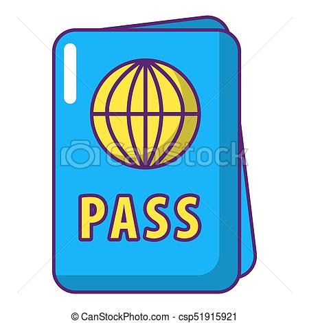 450x470 International Passport Icon, Cartoon Style. International Clip