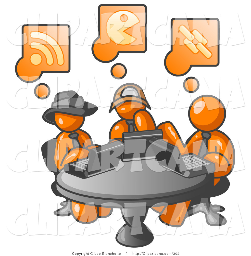 1024x1044 Vector Cliprt Of Three Orange Men Using Laptops While Sharing
