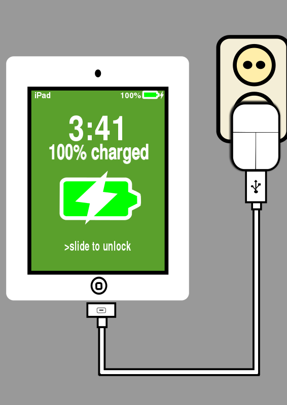 566x800 Free Clipart Charging Ipad Loveandread