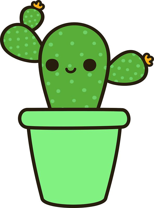 592x800 Cute Cactus In Green Pot' Sticker By Peppermintpopuk Cacti