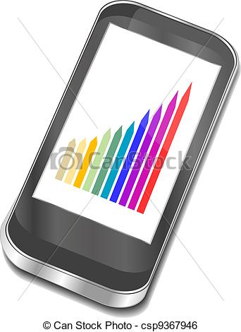 342x470 Smart Phone With Graphic Picture. 3d Vector Iphone Clip Art Vector