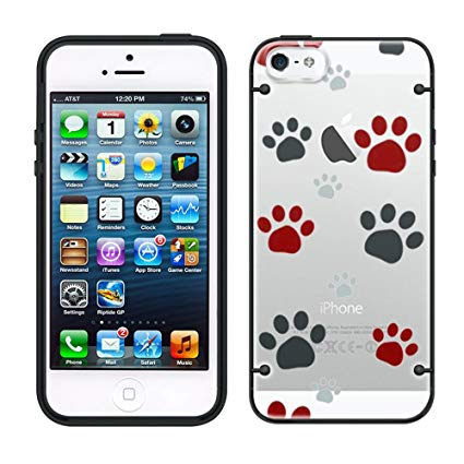 425x425 Iphone 6 Plus Paw Print Clip Art On Clear With Black Trim Case