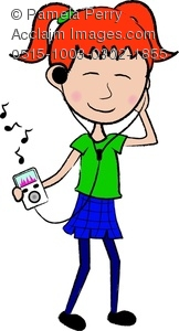 162x300 Clip Art Illustration Of A Red Haired Teenage Girl Listening To Music