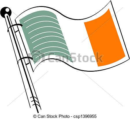 450x410 Ireland Or Irish Flag Clip Art In Simple, Line Art Style. Clipart