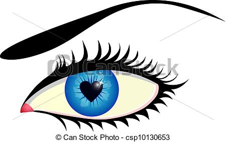 450x283 Close Up Of Human Eye With Heart Shaped Iris Clipart Vector