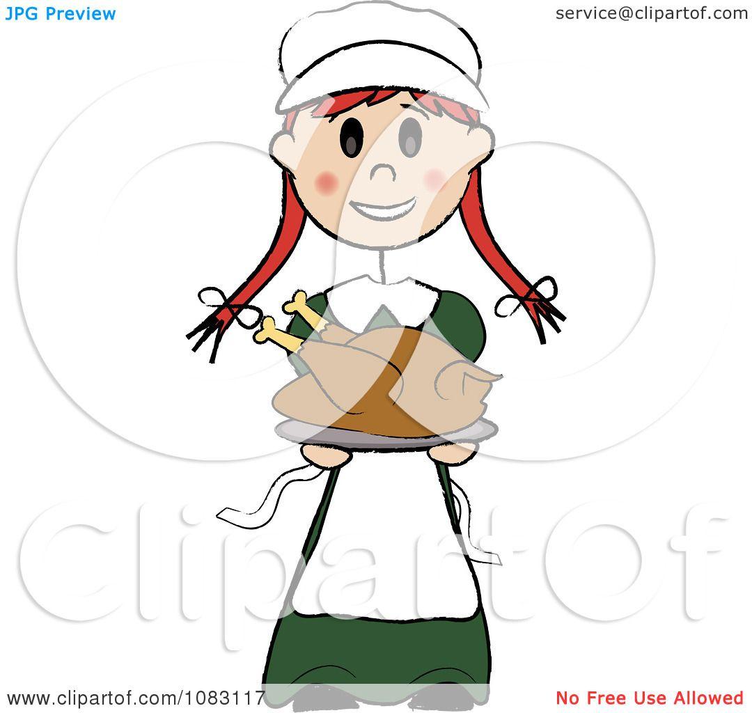 1080x1024 Clipart Thanksgiving Irish Stick Pilgrim Girl Holding A Turkey