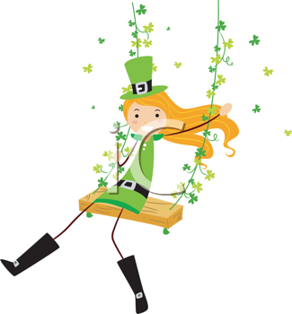 325x350 Royalty Free Clipart Image Of An Irish Girl On A Swing