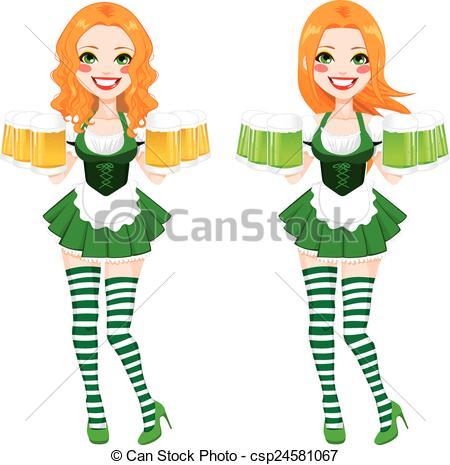 450x465 St. Patrick Irish Girl Beer. Beautiful Red Haired Irish Girl
